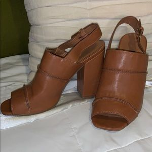 3 inch brown faux leather chunky heels